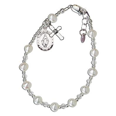 23f072e61415 Los niños de la plata de ley Comunión rosario pulsera con perla cultivada y  cristal (