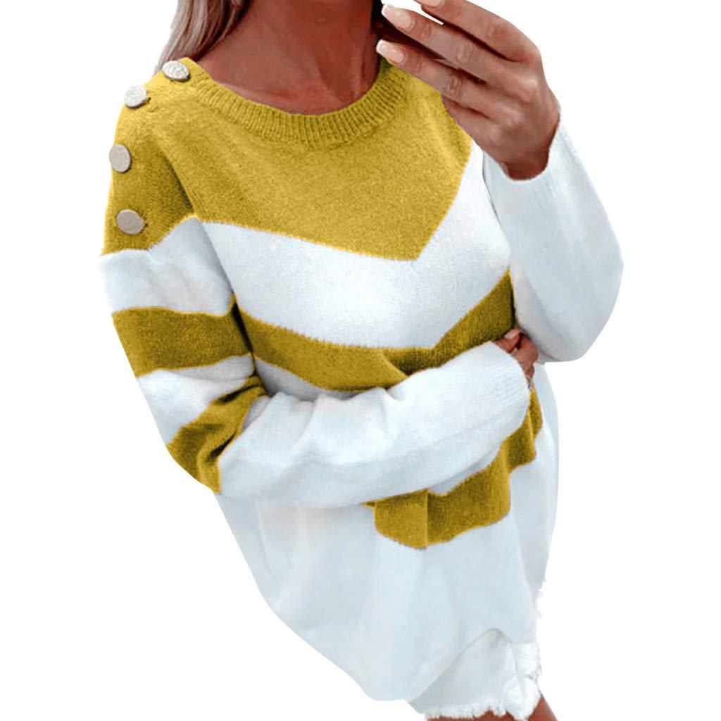JKLEUTRW Damen Winterjacke Warm Strickjacke Frauen Damen Pullover Lose Langarm Pullover Tops Strickwaren Bluse Frauen Langarm Solid Sweatshirt Pullover Tops Bluse Shirt