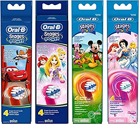 Kids by Oral-B Stages Power Mixed Replacement Heads 4 x 4