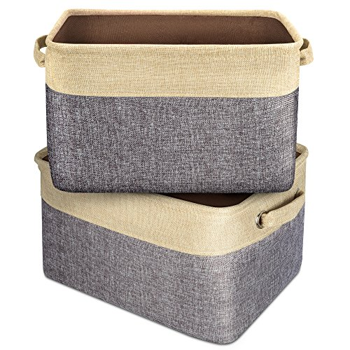 iSPECLE Storage Cube Box Basket Organizing Bin Closet Organizer with Handles 2 Packs - Beige & Dark Gray Collision