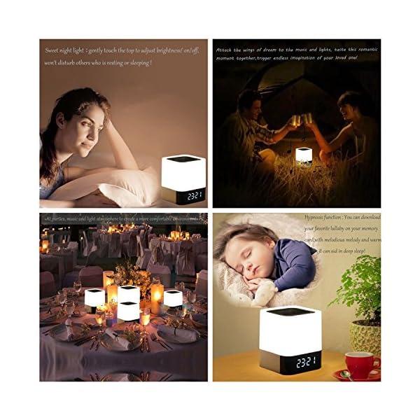 Enceinte Haut-parleur Bluetooth Portable Lampe de Chevet LED avec Contrôle Tactile, Lampe de Table Couleur Changeant la Lumière de Nuit avec le Réveil pour la Chambre 6