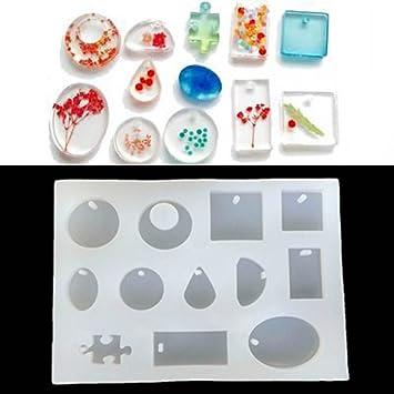yalulu 12 de silicona moldes para resina de moldeo para colgante de joyería brazalete pulsera haciendo molde DIY mano Craft herramienta: Amazon.es: Hogar