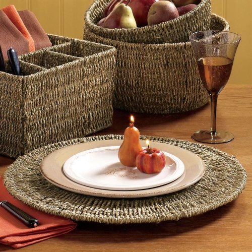 Christmas Tablescape Decor - Brown Seagrass Charger Plate by Tag