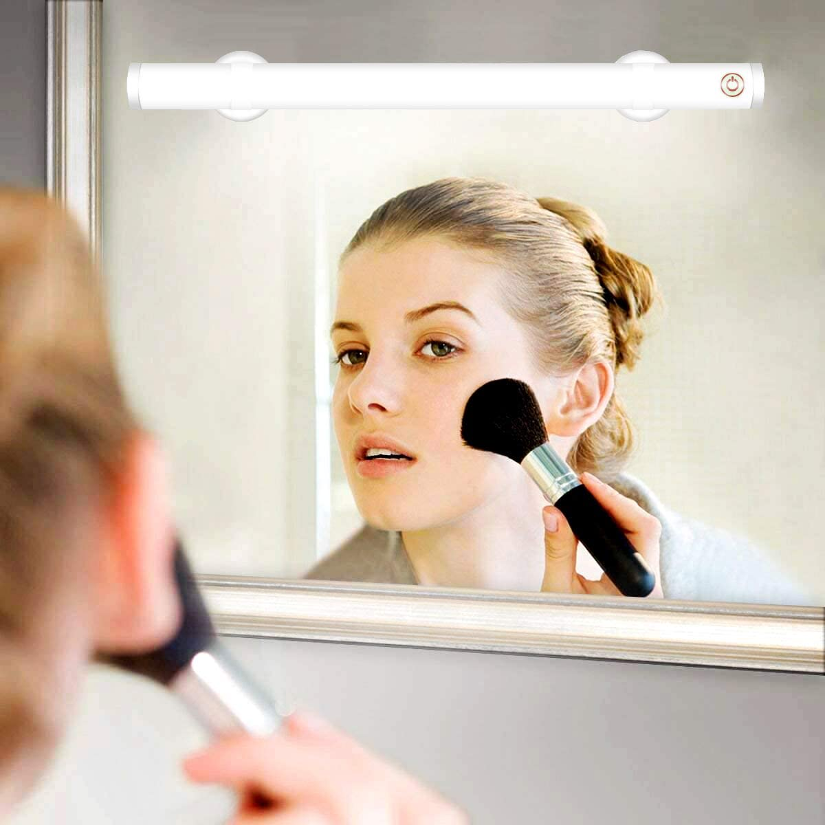 Wireless LED Makeup Mirror Lights, Portable Vanity Mirror Lights | Simulated Daylight | 4 Brightness Level Touch Control | Rechargeable, Makeup Lights Includes Makeup Brushes