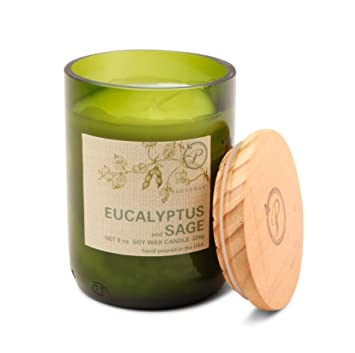Paddywax Candles Eco Collection Soy Wax Blend Candle in Glass Jar, Medium-  8 Ounce, Eucalyptus & Sage
