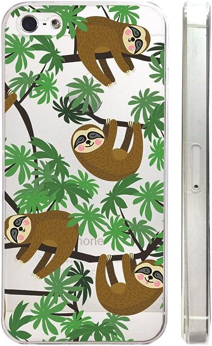 Animaux mignons Folivora paresseux clair Plastique Transparent Coque de téléphone téléphone Coque pour iPhone 6 6S _ Supertrampshop, iphone 5C