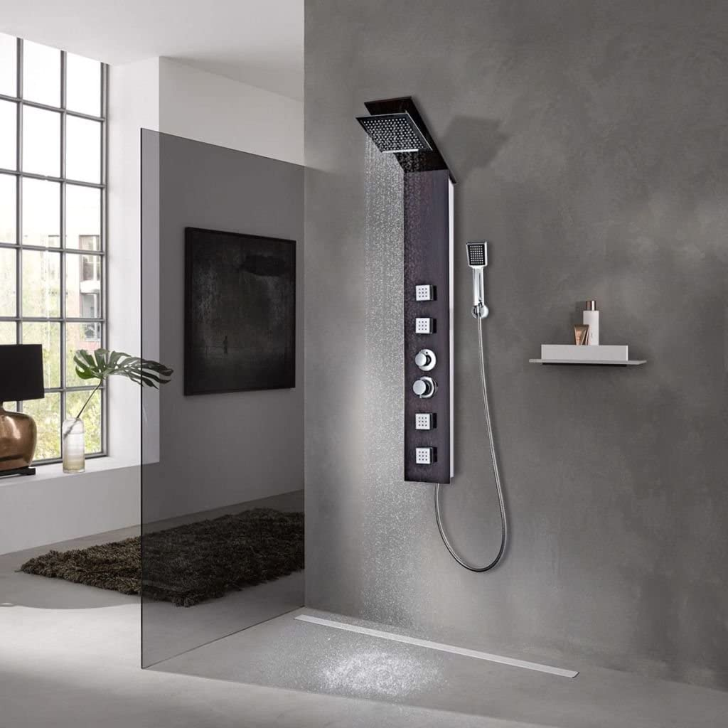 Sistema de panel de ducha de cristal, color marrón: Amazon.es ...