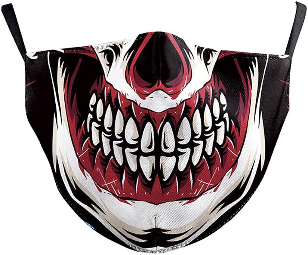 1//2 St/ück Mundschutz mit Motiv Totenkopf Lustig Skull Joker Haha Skelett 3D Mund Nasenschutz Waschbar mit 2//4 Filters Bunt Halloween Motorrad Multifunktionstuch f/ür Damen Herren Kinder BXHB052,1pcs