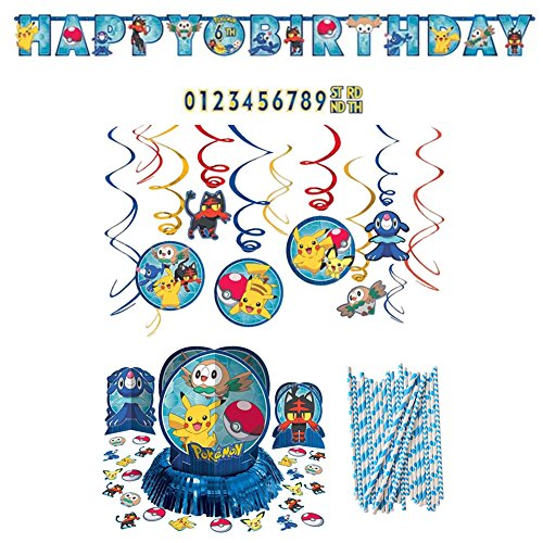 Pokemon Core Birthday Decoration Party Supplies Pack: Straws, Banner, Hanging Swirls, and Table Decorating -