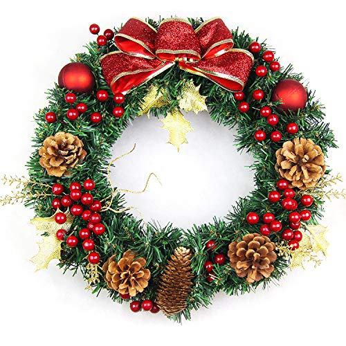 Lvydec 17 Inch Christmas Wreath, Merry Christmas Front Door Wreath with Pine Cone, Red Berry, Gold Leaves, Storage Box Included