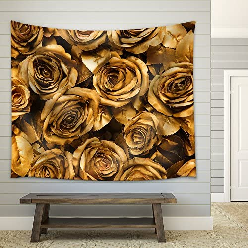 Golden Fabric Roses Background Fabric Wall