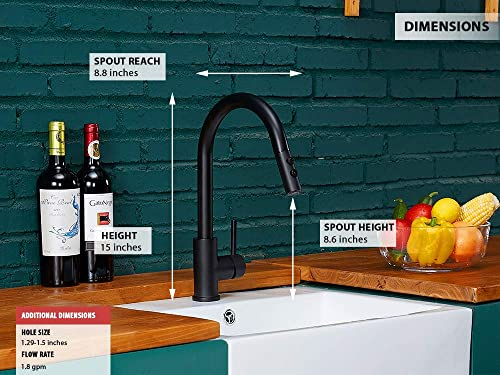 KINFAUCETS Modern Contemporary Matte Black Single Handle Gooseneck Stainless Steel Pull Out Kitchen Sink Faucet, Kitchen Faucet with Sprayer,Matte Black