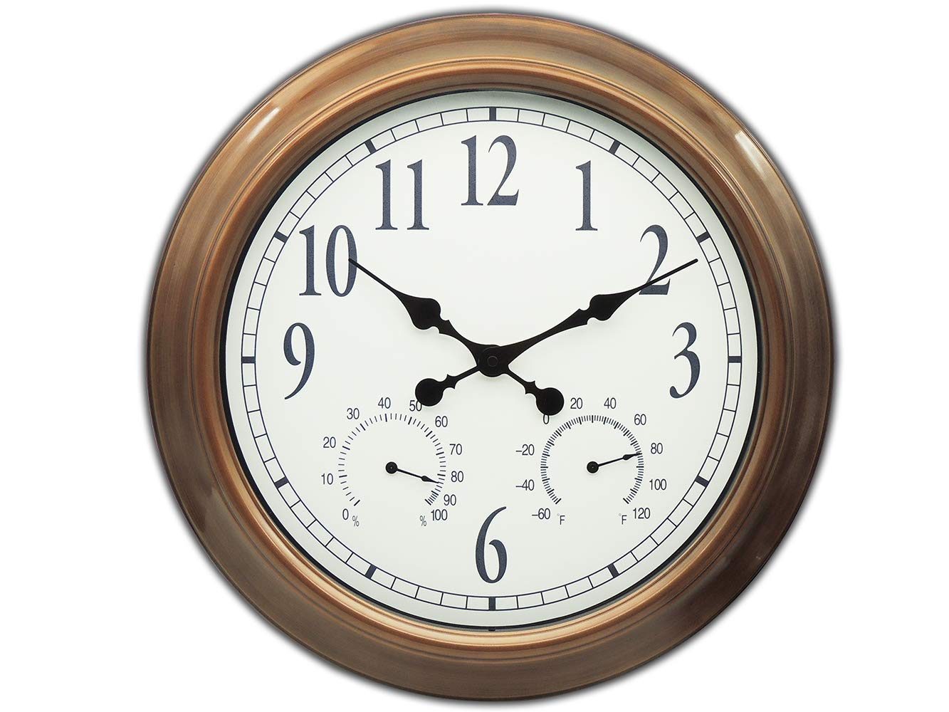Ing-Never Stop Outdoor Clocks, Large Outdoor Clock Waterproof with Temperature and Humidity Silent Movement - 18inch