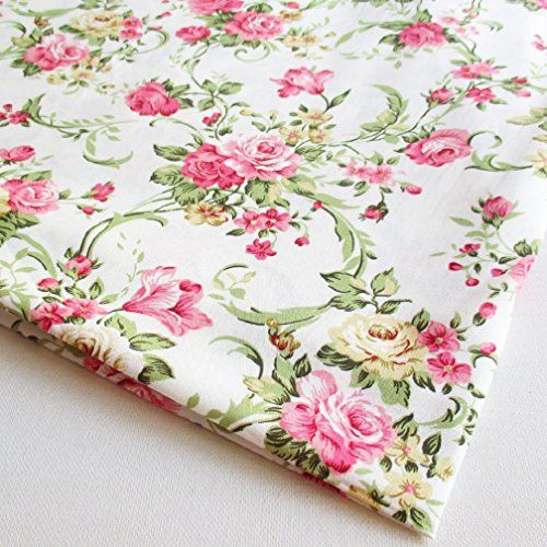 Victoria Rose Pink and yellow Rose Vine, White Cotton with Pink yellow Rose bouquet, Wedding 36 by 36-Inch Wide (1 Yard) - (CT520)