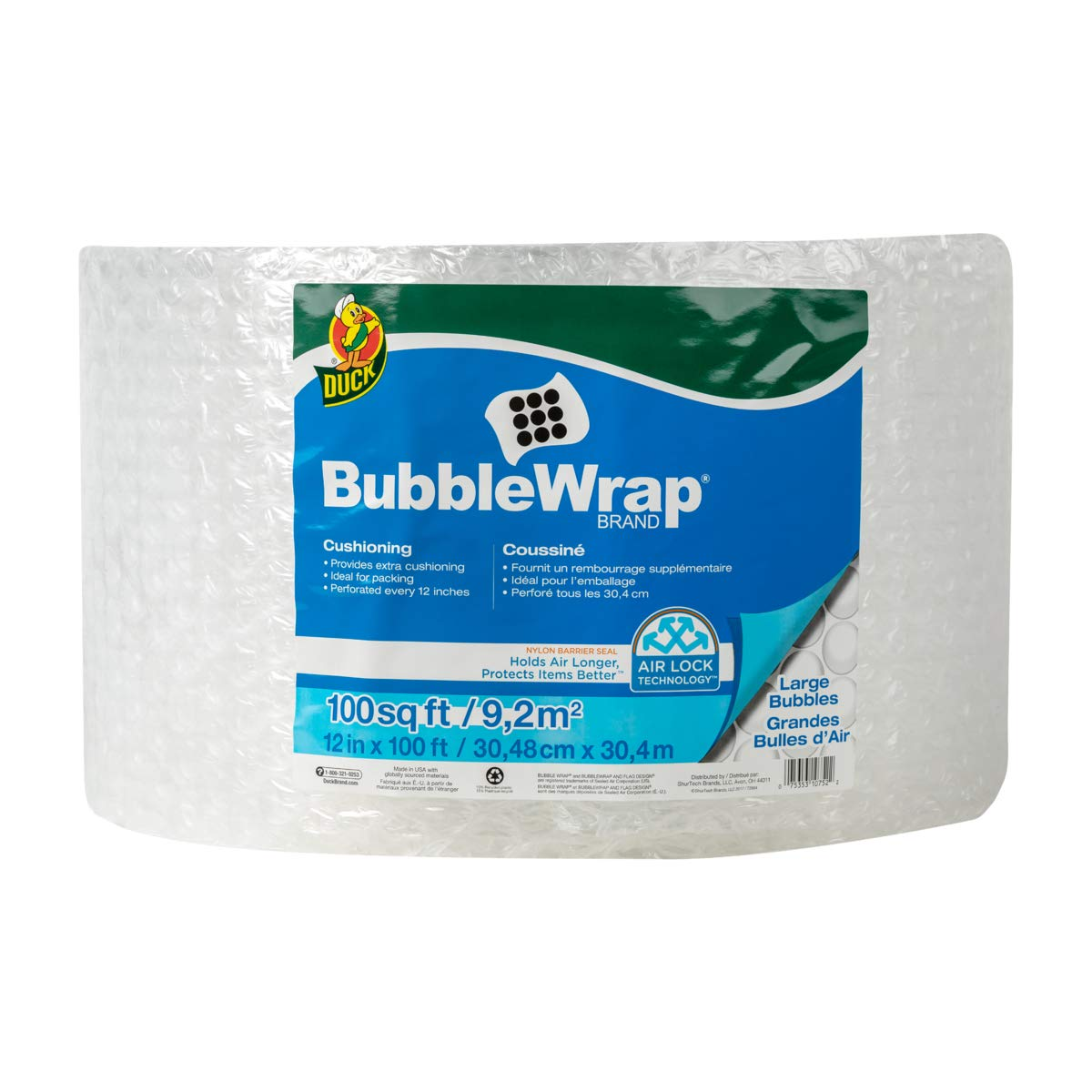 Duck Brand Large Bubble Wrap Roll, 5/16'' Large Bubble Cushioning, 12'' x 100', Perforated Every 12'' (1061909) by Duck