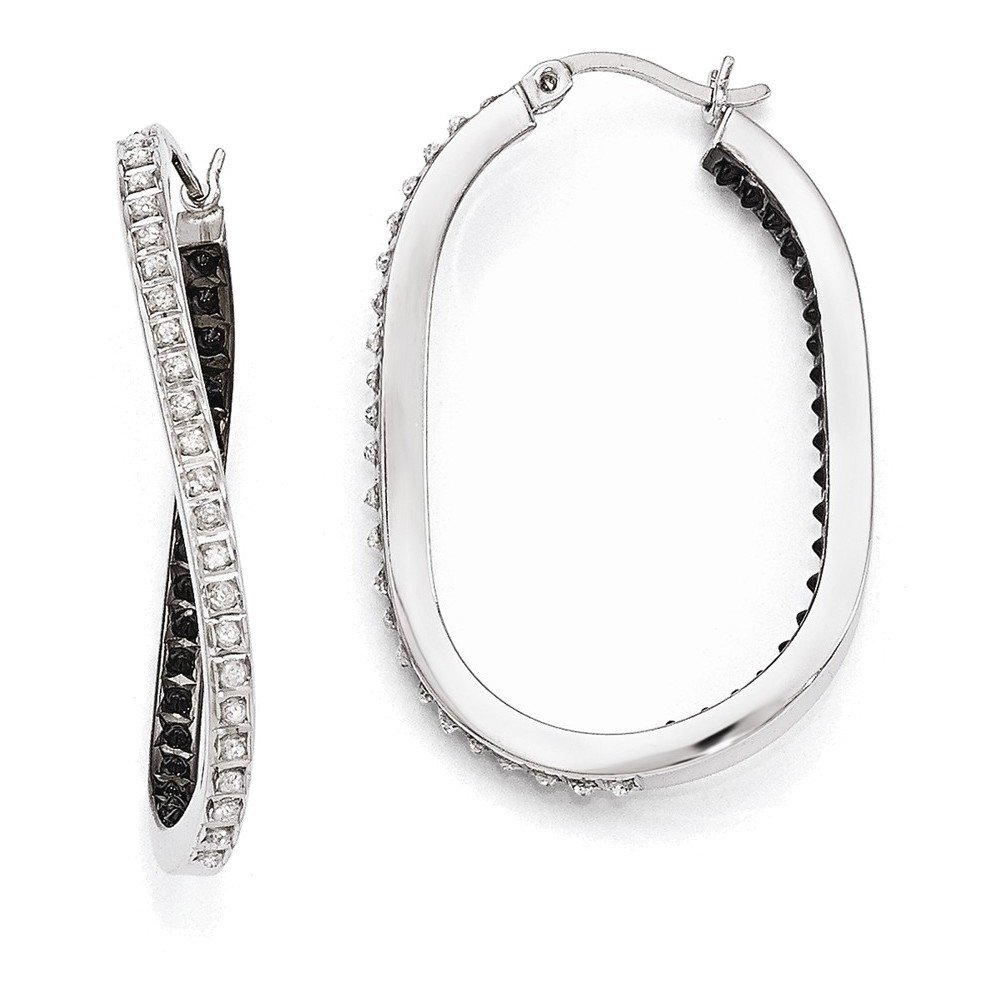 Sterling Silver Black & White Diamond Mystique Twisted Hoop Earring