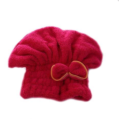 Brillante textil de microfibra de pelo turbante rápidamente cabello secado con toalla envuelta Baño Rose Red