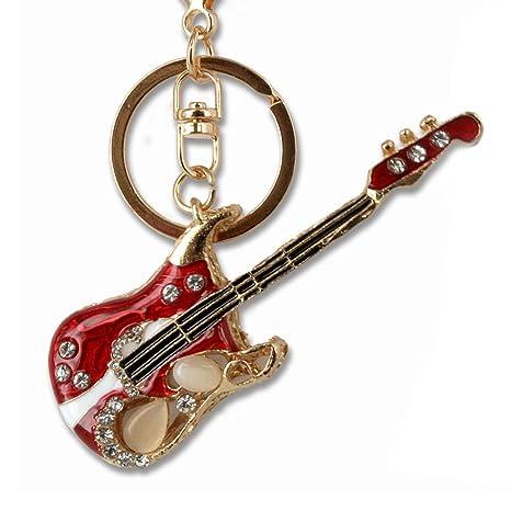 Llavero de Guitarra eléctrica, metal y cristal, estrás, colgante