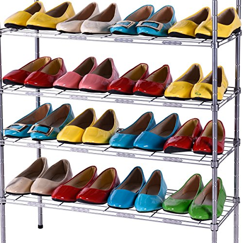 Stackable 4-Layer Shoe Rack Set of 2 (Black) - 6