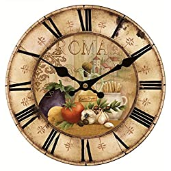 Upuptop 16inch Vintage French Country Farm Style Vegetables Kitchen Round Wood Wall Clock