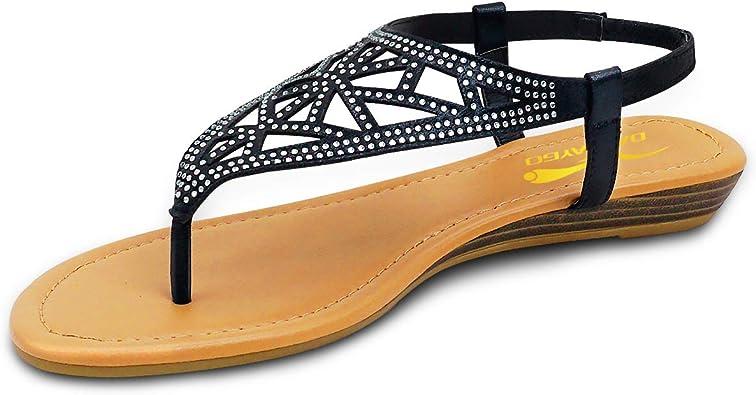 Womens Rhinestone Flat Sandals