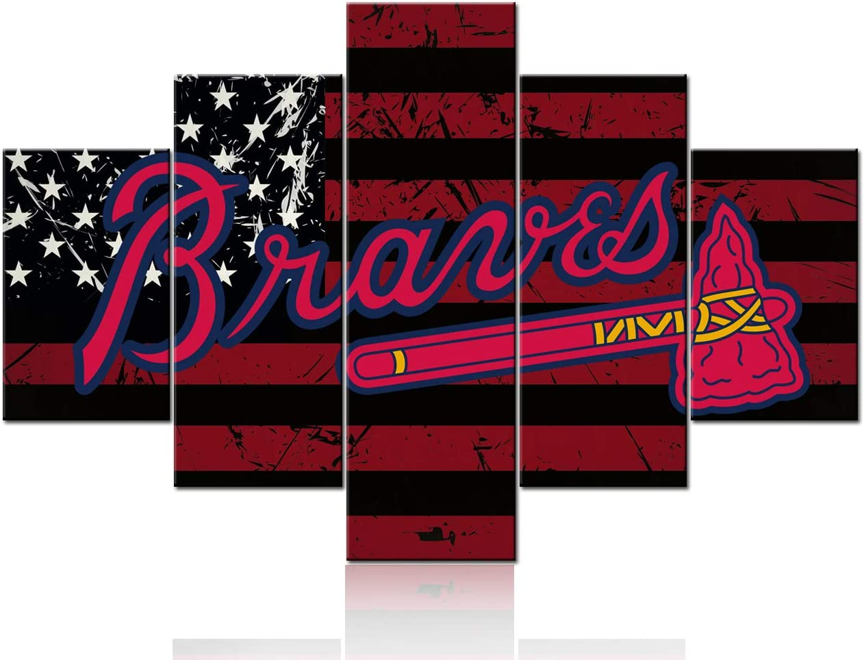 Amazon Com Black And Red Stripe Painting American Flag Picture The Logo Of Atlanta Braves Canvas Wall Art World Series Baseball Team Art Decor Wall Poster 5 Piece Framed Stretched Ready To Hang 60wx40h