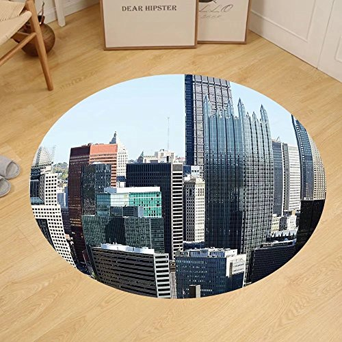Gzhihine Custom round floor mat USA American Architecture Pittsburgh PA Skyline Pennsylvania Modern Cityscape Bedroom Living Room Dorm Grey Silver Light - Pa Outlet Reading Stores
