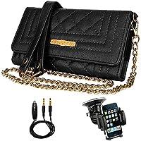 (Black) Folio for Samsung Galaxy Vangoddy Leather Case Fit S8 / S8+ / A3 / J1 Mini Prime / C5 Pro / A5 / J7 V / C7 Pro / A7 / Xcover 4 / J3 Emerge + Windshield Car Mount + Auxiliary Cord