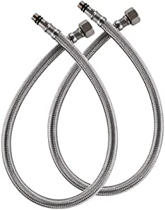 BWE 24-Inch Long Faucet Connector Braided Stainless Steel Supply Hose 1/2-Inch Female Compression Thread x 2 Pcs (1 Pair)