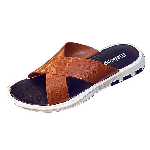 64fd8dfbb3e0 VEKDONE Sandals Fashion Beach Slipper Flip Flop Men Casual Shoes Summer  Sapatos Hembre Sapatenis(Brown