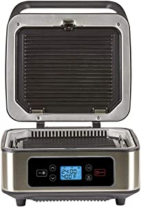 SHAQ Smokeless Grill & Press Electric Indoor Searing Grill & Panini Press Grill Combo, Bistro Sandwich Maker with Removable Grill Plates and Drip Trays, Black, Stainless Steel