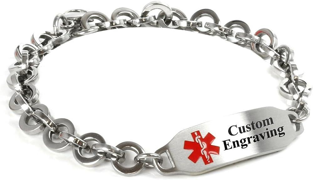 My Identity Doctor Custom Engraved Medical Alert Bracelet – 316L Steel 8mm Round Link