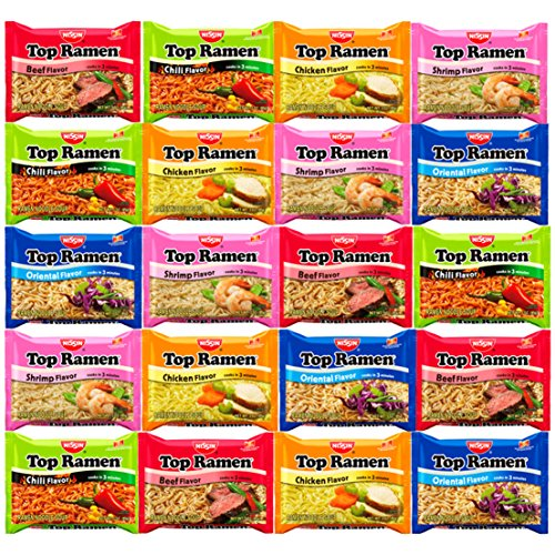 Snack Chest Nissin Top Ramen Noodles 5 Different Flavors Variety Sampler (20 Count)