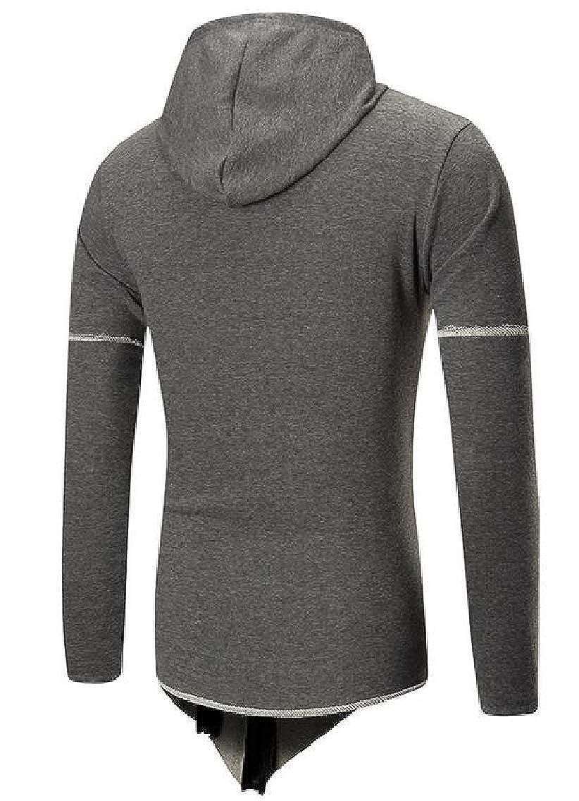 YYG Mens Zip-Up Long Sleeve Hole Classic Irregular Pullover Hoodie Sweatshirt