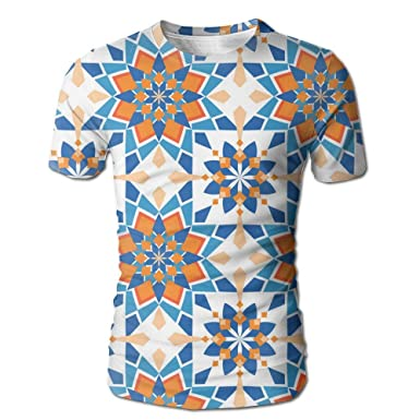 016bd77b9 Amazon.com: Men Creative Short Sleeve T-Shirt Orange Blue Tile 3D Print  Casual Graphic Tees Tops: Clothing