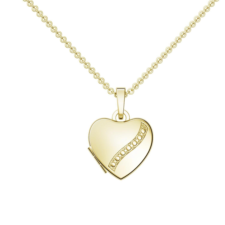 Goldkette damen herz  Herz Medaillon Gold Herzkette Foto Gelbgold vergoldet Herzform ...
