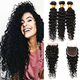 Brazilian Deep Wave With Closure 4×4 Front Full Lace Free Part Raw Remy Human Hair Extension 18 20 22+14 Closure
