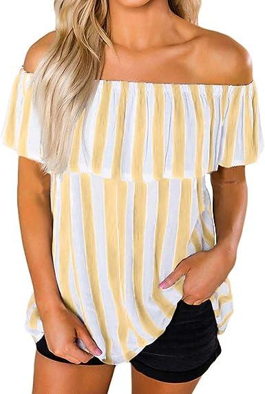 Camisa de Gran tamaño de Las Mujeres Surttan Tops con Volantes de Las Mujeres orta Mujeres Fuera del Hombro Manga Corta a Rayas de impresión Tops Camisas Casuales Blusa: Amazon.es: Ropa y