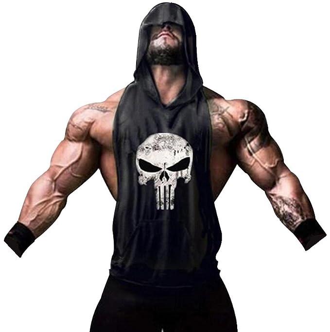 658fa32a1d889a Tank Top Hombre de Tirantes Camiseta Deportiva para Pesas y Gym. Camisas  Fitness sin Mangas con Capucha. (Castigador/Negra): Amazon.es: Ropa y  accesorios