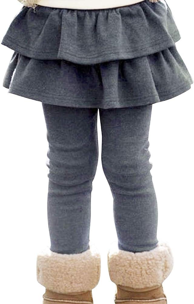 Evelin LEE Kids Girls Elastic Waist Stretchy Footless Leggings with Ruffle Tutu Skirt Pants