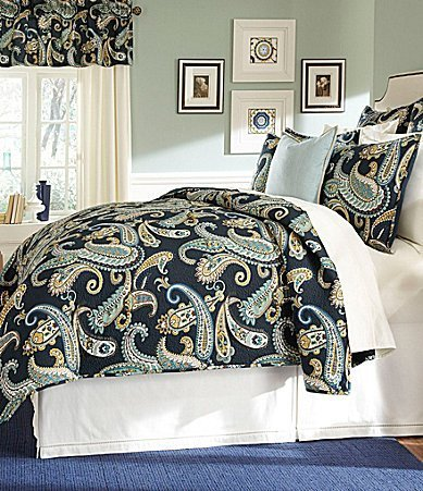 Noble Excellence Villa Fontana Blue Paisley Quilted EURO Pillow Sham by Noble Excellence