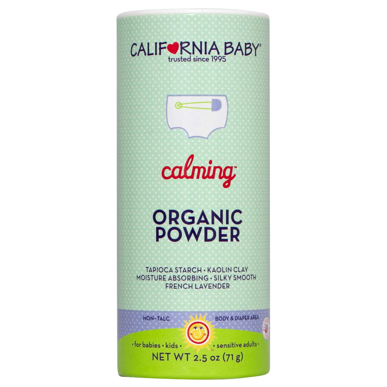 California Baby Calming Organic Powder | Non-Talc | All-Natural Calming Powder | Ideal for Body and Diaper Area | Soothing and Comfortable | Moisture Absorbing Tapioca and Lavender Formula | 2.5oz by California Baby