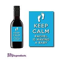 10x Personalised Keep Calm Blue Baby Boy Shower Mini Wine, Non alcoholic bottle labels Celebration Gift