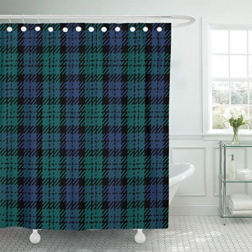 VaryHome Shower Curtain Tartan Black Watch Plaid Kilt Patterns Waterproof Polyester Fabric 72 x 72 inches Set with ()