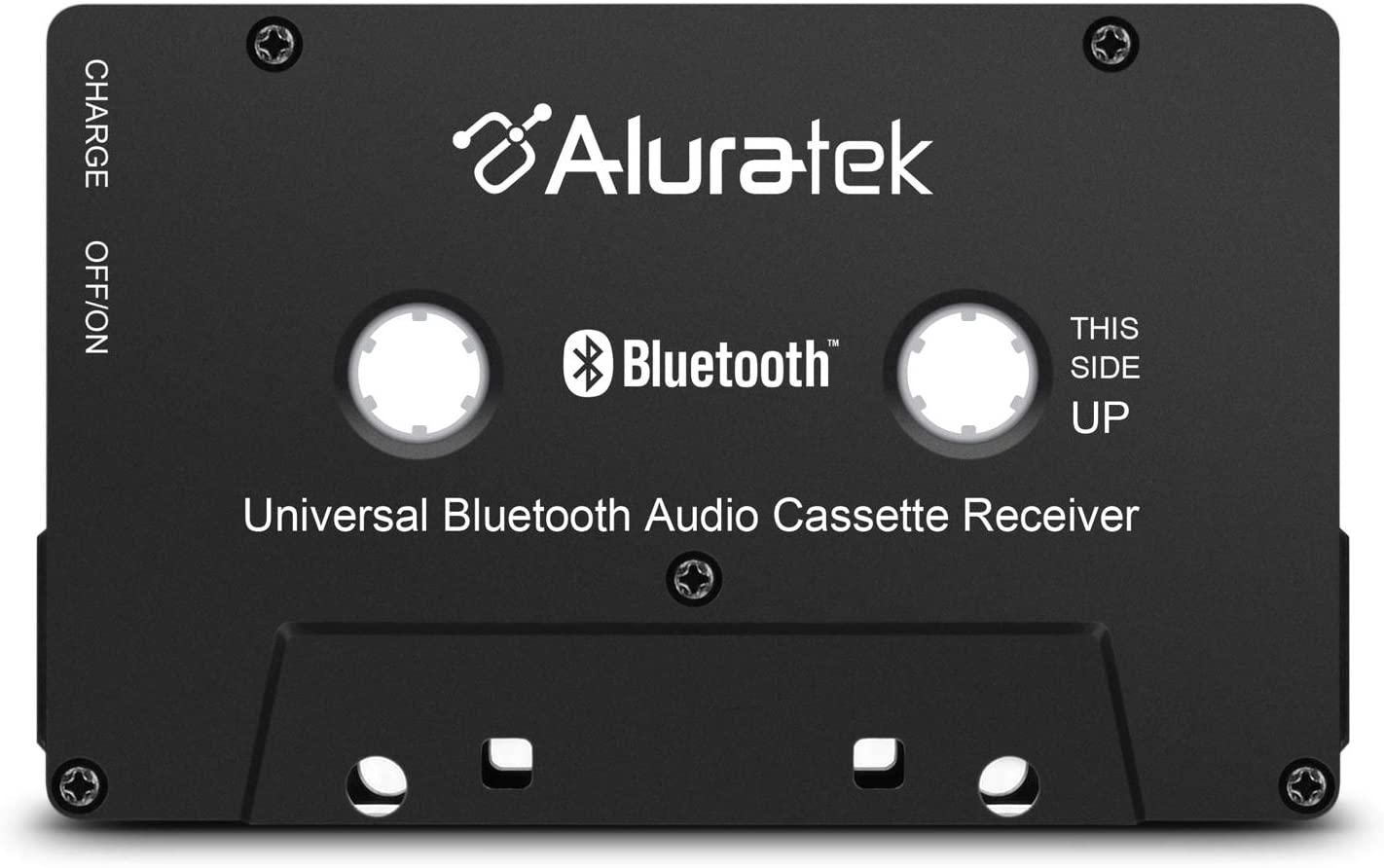 Aluratek Universal Bluetooth Audio Cassette Receiver with Built-in Battery for Car, Boombox, Stereo, RV (ABCT01F)