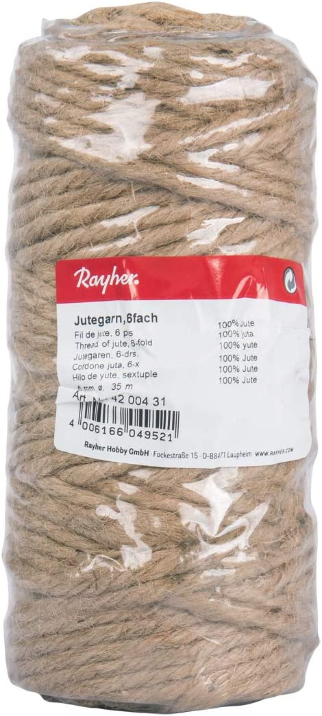 Rayher 4200431 6-Fold Jute Thread, Plastic, Natural, 6 mm, 35 m Spool Hilo de Yute, sextuple, 6mm ø, Bobina 35m