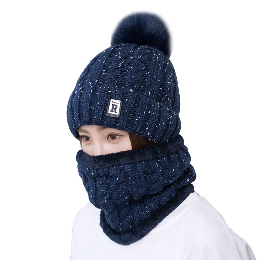 Butterme Women Girls Warm Knitted Crochet Slouchy Skiing Hat Pom Pom Skull Cap and Plush Lining Neck Warmer Snood Loop Scarf Set(Beige) ZUMUii ZUMU00006125