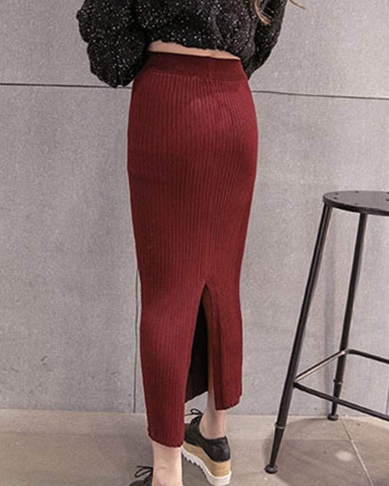 Guiran Mujer Invierno Cintura Alta Elegantes Midi Elasticidad Lapiz Faldas De Punto