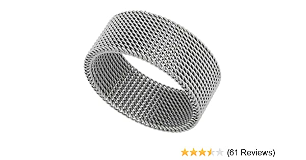 e44d6caa5 Surgical Stainless Steel 10 mm Mesh Ring Wedding Band, sizes 5 - 14 |  Amazon.com