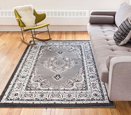 Well Woven Sephan Grey Traditional Oriental Sarouk Medallion Modern Casual Floral 3x5 (3'3'' x 5') Area Rug Thick Soft Plush Shed Free